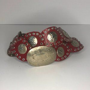 Moroccan VintageRed Leather & Silver Bohemian Belt